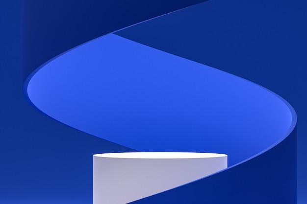 Wit minimaal podium of voetstukdisplay op abstracte blauwe achtergrond voor de presentatie van cosmetische producten