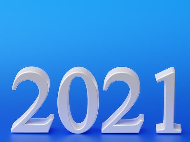 Wit nummer 2021 van het nieuwe jaar op blauw.
