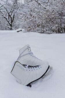 Wit paar vrouwelijke schaatsen in de sneeuw in de winter, actieve rust