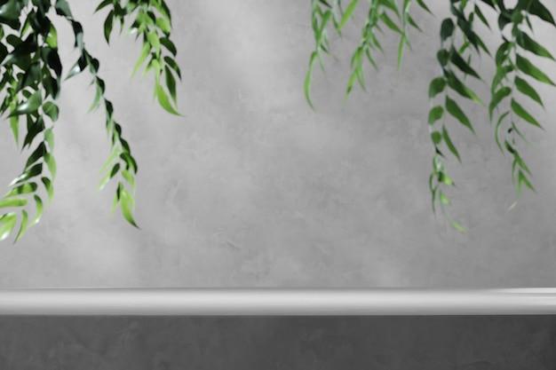 Wit platform en vervaging tropische planten voorgrond. abstracte achtergrond voor productpresentatie of advertenties. 3d-rendering