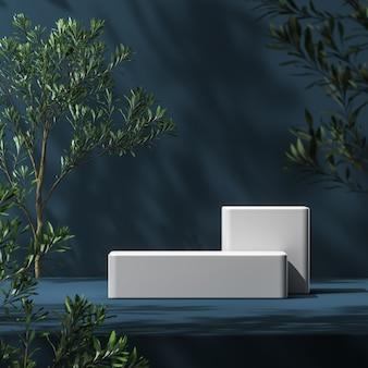 Wit platform op blauwe mockup-scène, vervaag de voorgrond van planten en de achtergrond van de schaduw van planten, abstracte achtergrond voor productpresentatie of advertenties. 3d-rendering