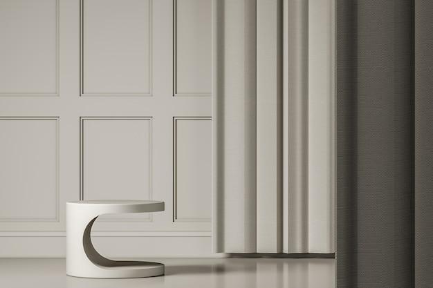 Wit platform op witte mockupscène, abstracte achtergrond voor product of presentatie. 3d-rendering