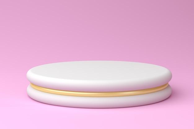 Wit podium met gouden accenten op pastel roze achtergrond, 3d render