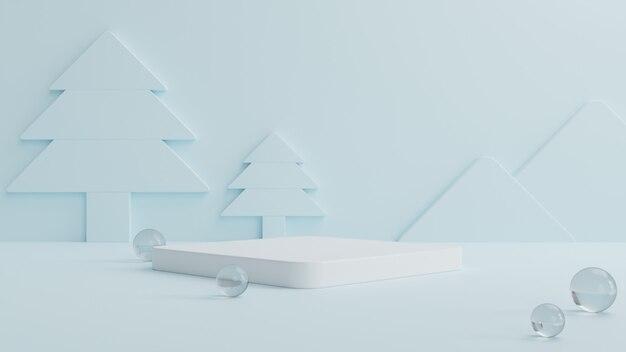 Wit podium met rondom kristallen bollen en een blauwe kerstboom