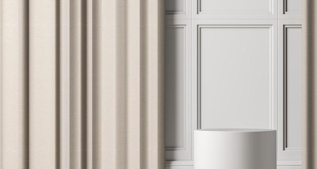 Wit podium op witte mockupscène, abstracte achtergrond voor product of presentatie. 3d-rendering