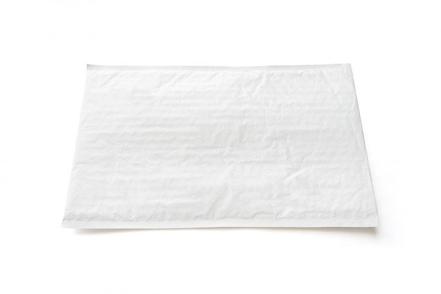 Wit postpakket. plastic pakketobject achtergrond.