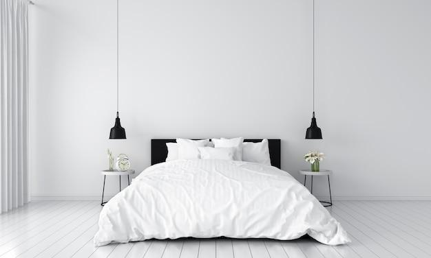 Wit slaapkamerbinnenland voor mockup