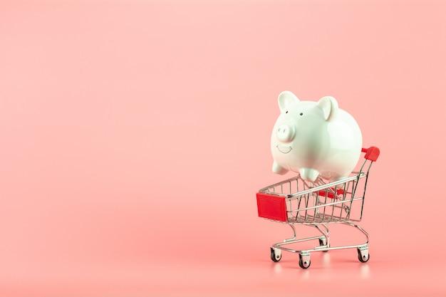 Wit spaarvarken in klein boodschappenwagentje op roze achtergrond. - bewaar en beheer concept.