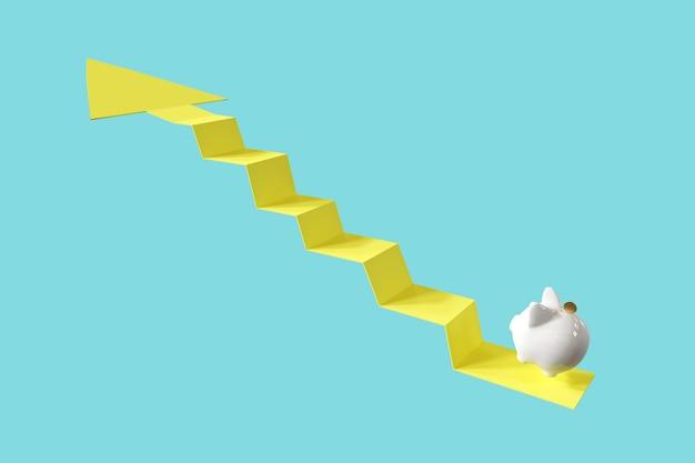 Wit spaarvarken met muntsprong op pijl omhoog. minimaal idee bedrijfsconcept. 3d-weergave