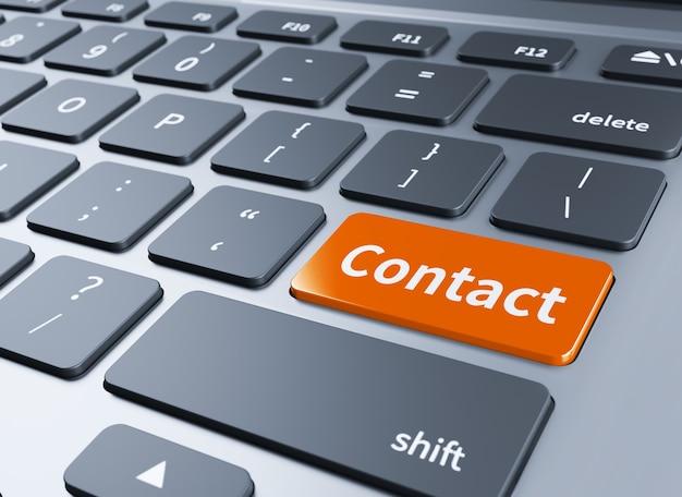 Wit toetsenbord met contact met ons op sleutel 3d illustratie