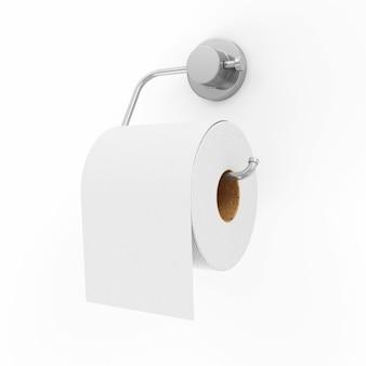 Wit toiletpapier op houder geïsoleerd op een witte achtergrond