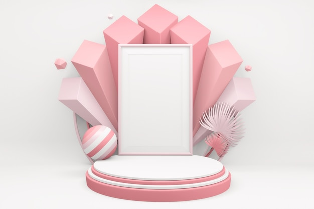 Wit valentine concept roze podium minimaal ontwerp productscène. 3d-weergave