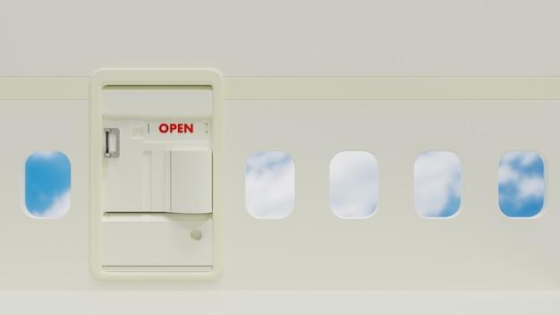 Wit vliegtuig binnen de deur