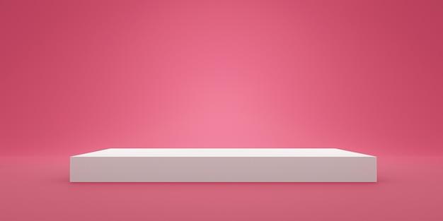 Wit voetstuk of podium met zoet platform. lege plankstandaard voor het tonen van product. 3d-weergave