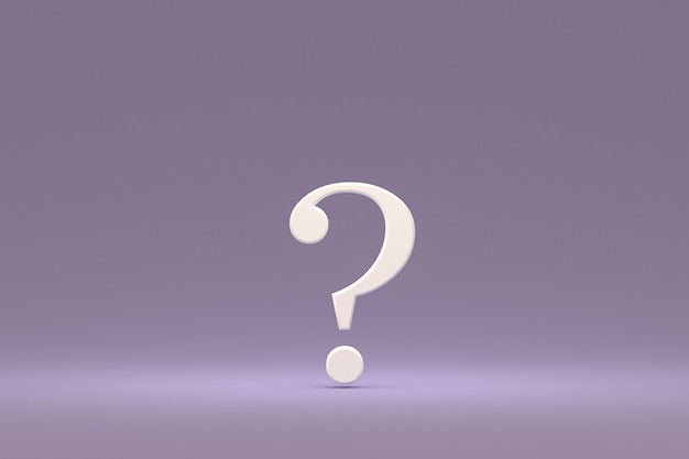 Wit vraagteken minimaal op paarse achtergrond, 3d render, minimaal en kopieer ruimte