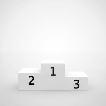 Wit winnaars podium op een witte achtergrond