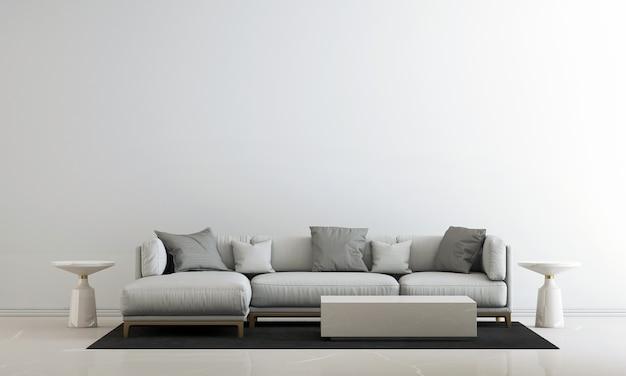Wit woonkamerinterieur en lege muurachtergrond