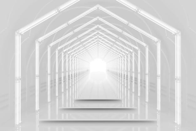 Wit zeshoekig tunnel glanzend podium. abstracte achtergrond. lichtreflectiefase. geometrische neonlichten. 3d illustratie