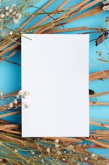 Witboek over katoenen takken kopie ruimte
