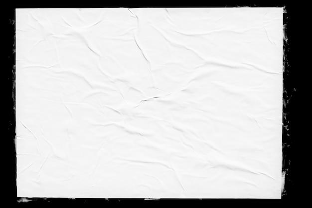 Witboek poster mockup geïsoleerd op zwart