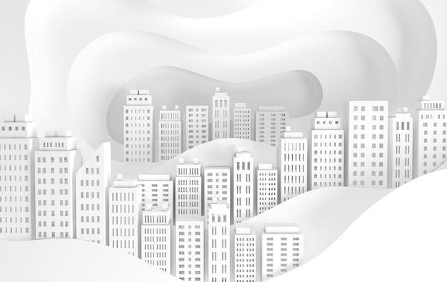 Witboek wolkenkrabbers en golven achitectural gebouw in panoramisch uitzicht