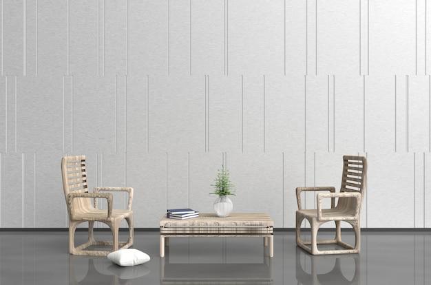 Witgrijze woonkamerinrichting met houten fauteuil en tafel, kussen, boek, muurpatroon. 3d ren