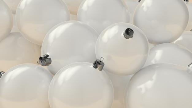 Witte 3d achtergrond met kerstballen. xmas patroon ronde kerstballen. 3d-weergave
