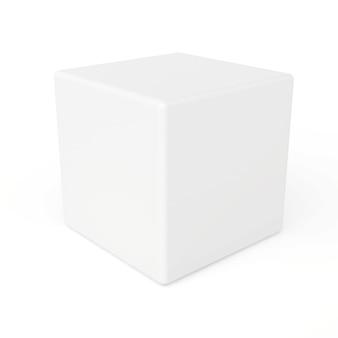 Witte 3d-kubus geïsoleerd op witte ruimte. 3d-weergave.