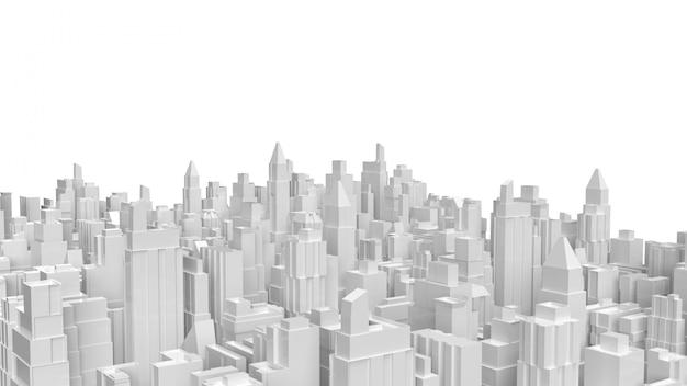 Witte, 3d-rendering stad buildong