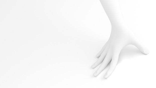 Witte achtergrond 3d handgebaar 3d illustratie rendering