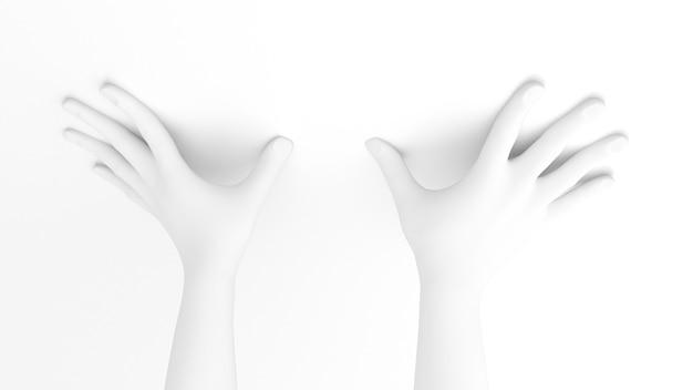 Witte achtergrond 3d illustratie van het handgebaar