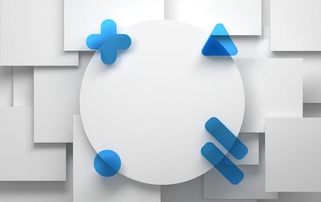 Witte achtergrond met abstracte witte en blauwe geometrische vormen