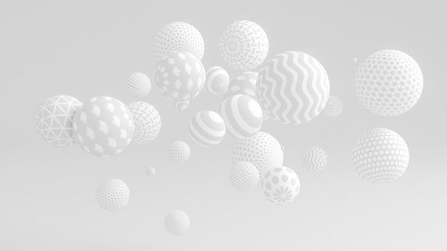 Witte achtergrond met ballen. 3d-afbeelding, 3d-rendering.