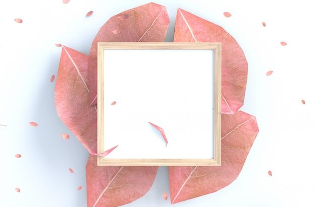 Witte achtergrond met fotolijst en blaas roze bladeren, tak.