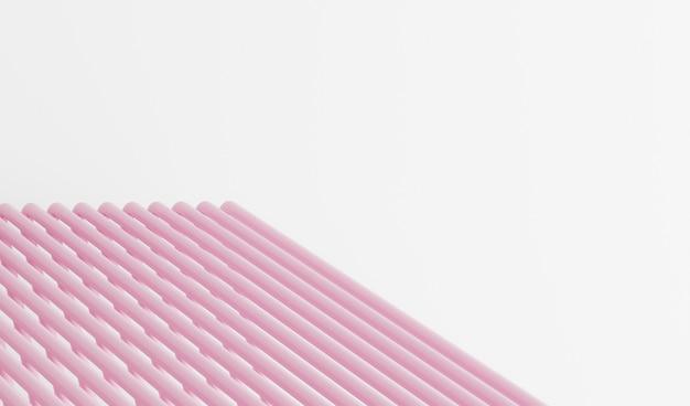 Witte achtergrond met roze abstracte buizen, abstracte achtergrond met lijnen, roze en wit gestreepte achtergrond