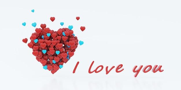 Witte achtergrond voor valentijnsdag met het hart, 3d-rendering