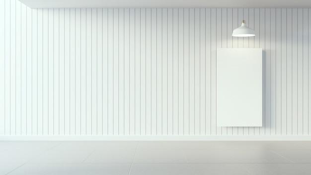 Witte affiche op witte houten muur en binnenlands ontwerp