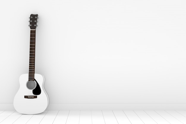 Witte akoestische gitaar in lege witte ruimte in het 3d teruggeven