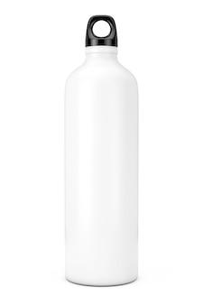 Witte aluminium fiets water sport fles mockup op een witte achtergrond. 3d-rendering