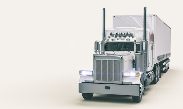 Witte amerikaanse vrachtwagen op witte achtergrond.