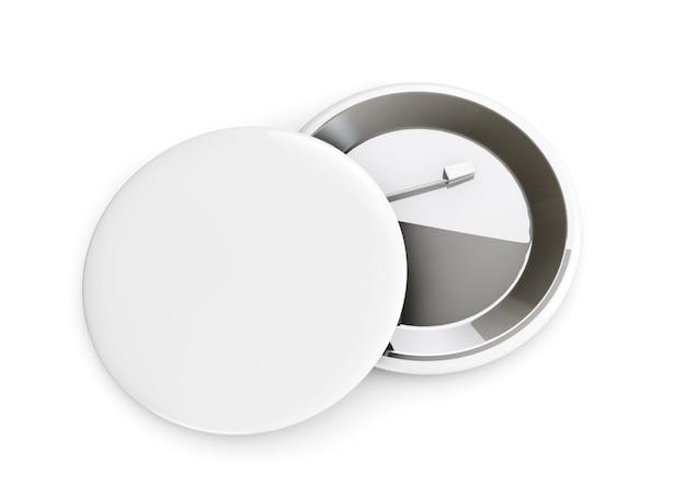 Witte badges voor- en achteraanzicht op een witte achtergrond