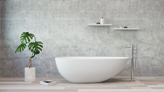 Witte badkuip die zich in een moderne badkamers bevindt. 3d-rendering. .