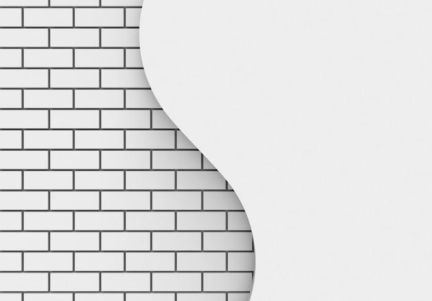 Witte bakstenen en kopie ruimte kromme muur achtergrond.