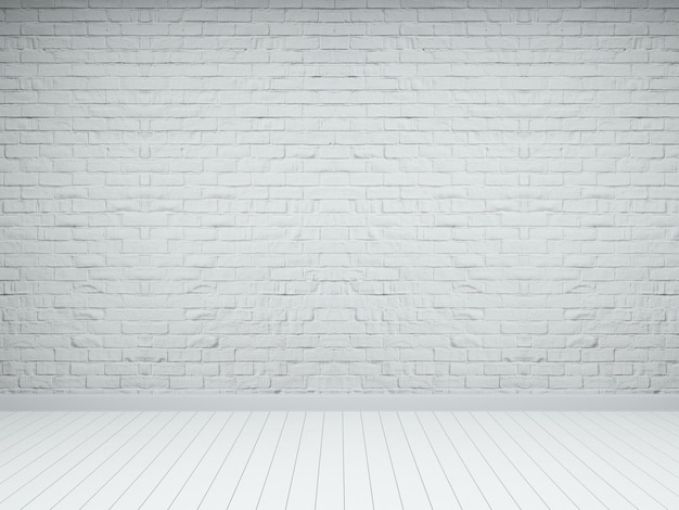 Witte bakstenen houten vloer emty kamer interieur 3d render