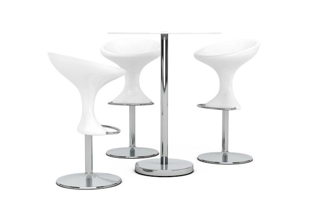 Witte bar moderne krukken met tafel op een witte achtergrond. 3d-rendering.