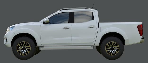 Witte bestelwagen bedrijfswagen met dubbele cabine. machine zonder insignes met een schone, lege behuizing voor uw logo's en labels. 3d-weergave.