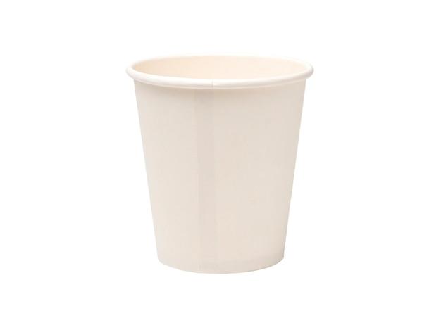 Witte blanco papier koffiekopje op wit