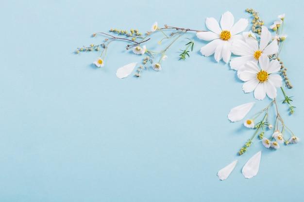 Witte bloemen op papier achtergrond