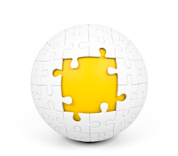 Witte bolvormige puzzel met ontbrekende stukjes op witte achtergrond, 3d-rendering