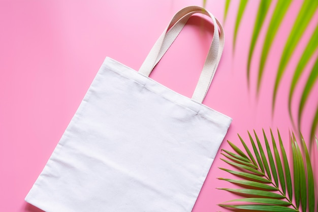 Witte canvas canvas stof. doek shoppen zak mockup met kopie ruimte.